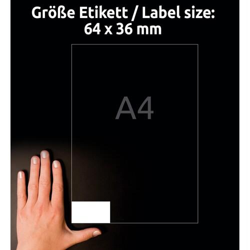 Etiketten Inkjet+Laser+Kopier 64x36mm auf A4 Bögen weiß Zweckform 6170 (PACK=630 STÜCK) Produktbild Additional View 6 L