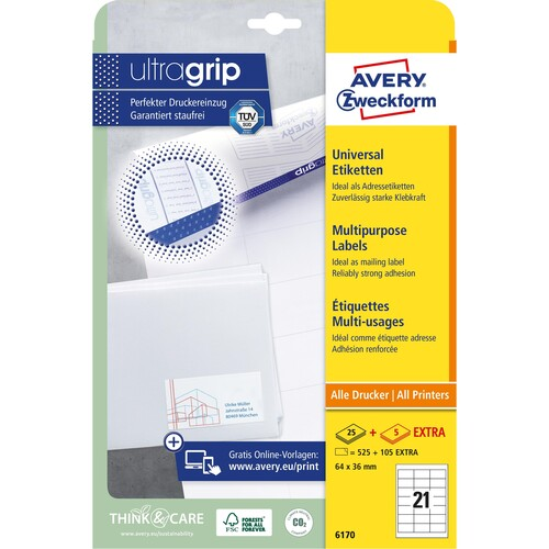Etiketten Inkjet+Laser+Kopier 64x36mm auf A4 Bögen weiß Zweckform 6170 (PACK=630 STÜCK) Produktbild Additional View 1 L