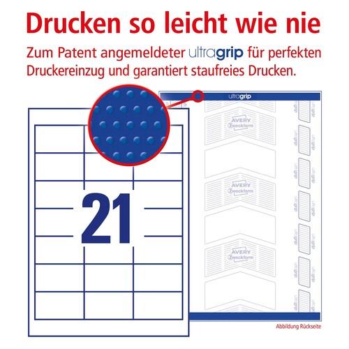 Etiketten Inkjet+Laser+Kopier 64x36mm auf A4 Bögen weiß Zweckform 6170 (PACK=630 STÜCK) Produktbild Additional View 3 L