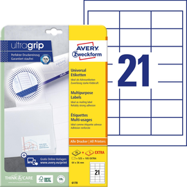 Etiketten Inkjet+Laser+Kopier 64x36mm auf A4 Bögen weiß Zweckform 6170 (PACK=630 STÜCK) Produktbild