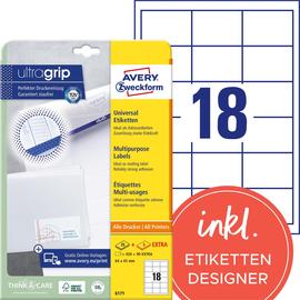 Etiketten Inkjet+Laser+Kopier 64x45mm auf A4 Bögen weiß Zweckform 6171 (PACK=540 STÜCK) Produktbild