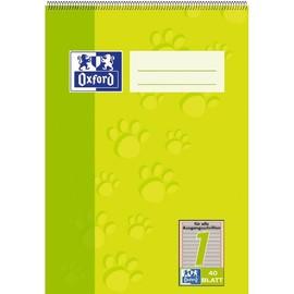 Spiralschulblock Oxford A5 Lineatur 1 40Blatt 90g Optik Paper weiß farbig hinterlegt 100050384 Produktbild