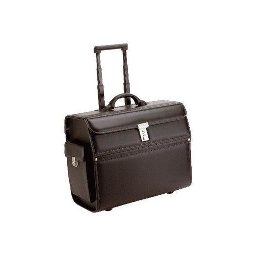Pilotenkoffer mit Trolleysystem MONDO 48,5x37X24cm schwarz Lederimitat Alassio 45033 Produktbild Front View L
