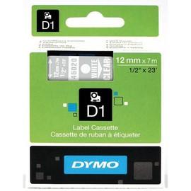 Schriftband D1 12mm/7m weiß auf transparent Dymo S0720600 (ST=7 METER) Produktbild