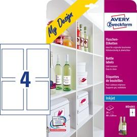 Flaschen-Etiketten Inkjet 120x90mm auf A4 Bögen Zweckform MD4001 (PACK=15 STÜCK) Produktbild