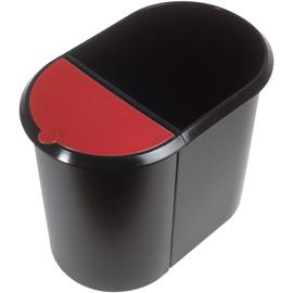 Duo-System-Papierkorb 20l + 9l mit Deckel schwarz/rot Helit H6103992 Produktbild