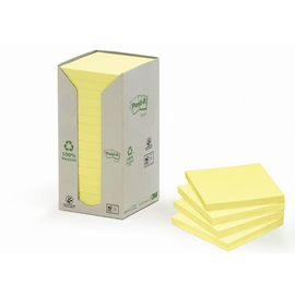 Haftnotizen Post-it Recycling Notes Tower 76x76mm gelb Papier 3M 654-1T (ST=16x 100 BLATT) Produktbild