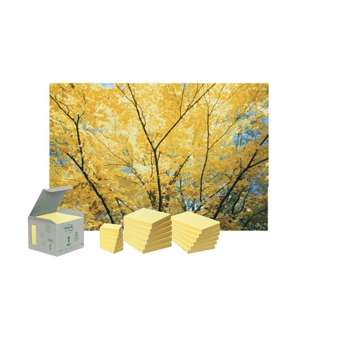 Haftnotizen Post-it Recycling Notes Tower 76x76mm gelb Papier 3M 654-1T (ST=16x 100 BLATT) Produktbild Additional View 1 L