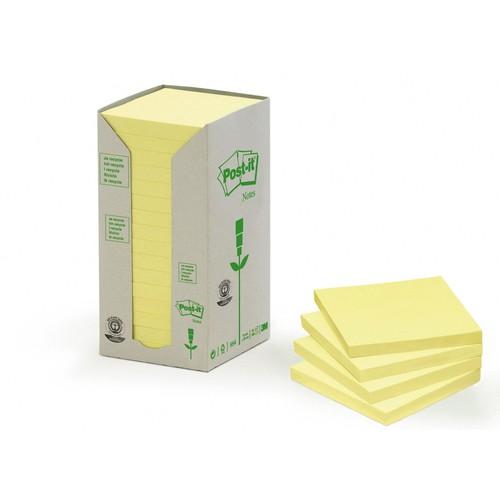 Haftnotizen Post-it Recycling Notes Tower 76x76mm gelb Papier 3M 654-1T (ST=16x 100 BLATT) Produktbild