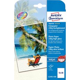Fotopapier Inkjet Superior 13x18cm 230g weiß high-glossy Zweckform C2495-45R (PACK=45 BLATT) Produktbild