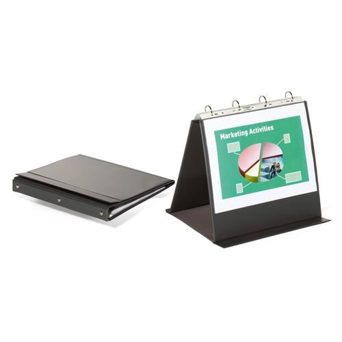 Tisch-Flipchart ECONOMY A4 quer mit 10 Hüllen anthrazit/grau kunststoff Durable 8574-57 Produktbild Front View L