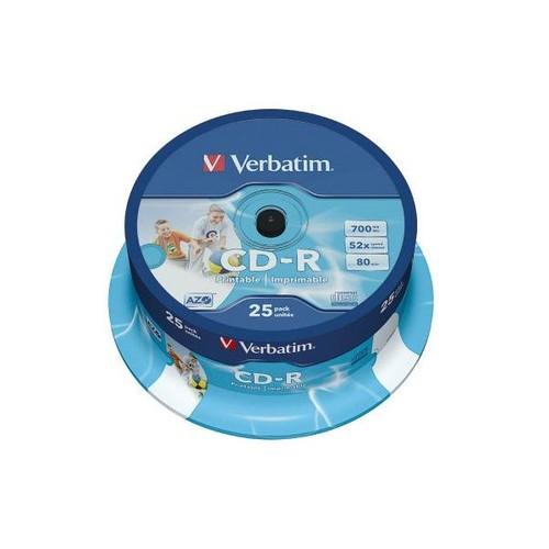 CD Rohling CD-R DataLifePlus bedruckbar Spindel 52er Speed 700MB/80Min. Verbatim 43439 (PACK=25 STÜCK) Produktbild Front View L