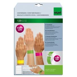 Eventbänder mit Etiketten 26cm neongrün besonders weiches Material Sigel EB212 (PACK=120 STÜCK) Produktbild
