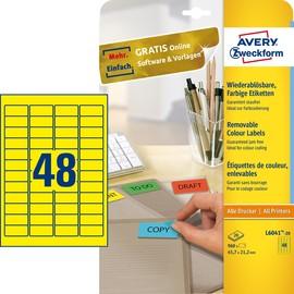 Etiketten Inkjet+Laser+Kopier 45,7x21,2mm auf A4 Bögen gelb wiederablösbar Zweckform L6041-20 (PACK=960 STÜCK) Produktbild