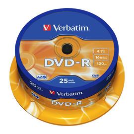 DVD-R 16fach Spindel mit Etikett 4,7GB/120Min. Verbatim 43522 (PACK=25 STÜCK) Produktbild