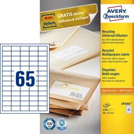 Etiketten Inkjet+Laser+Kopier 38x21,2mm auf A4 Bögen recycling weiß Zweckform LR3666 (PACK=6500 STÜCK) Produktbild