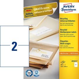 Etiketten Inkjet+Laser+Kopier 210x148mm auf A4 Bögen recycling weiß Zweckform LR3655 (PACK=200 STÜCK) Produktbild