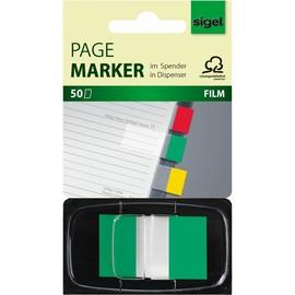 Haftmarker Z-Marker Film Color-Tip 25x43mm grün transparent Sigel HN493 (PACK=50 STÜCK) Produktbild