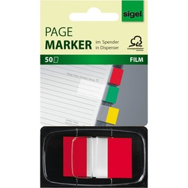 Haftmarker Z-Marker Film Color-Tip 25x43mm rot transparent Sigel HN491 (PACK=50 STÜCK) Produktbild