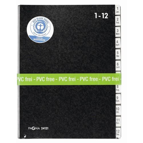Pultordner 12 Fächer 1-12 A4 schwarz Hartpappe Pagna 24121-04 Produktbild