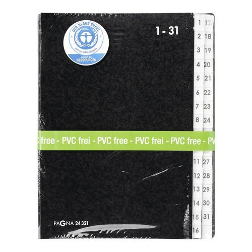 Pultordner 32 Fächer 1-31 A4 schwarz Hartpappe Pagna 24321-04 Produktbild