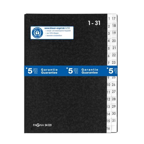 Pultordner 32 Fächer 1-31 A4 schwarz Hartpappe Pagna 24321-04 Produktbild Additional View 1 L