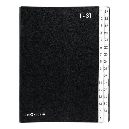 Pultordner 32 Fächer 1-31 A4 schwarz Hartpappe Pagna 24321-04 Produktbild Additional View 2 L