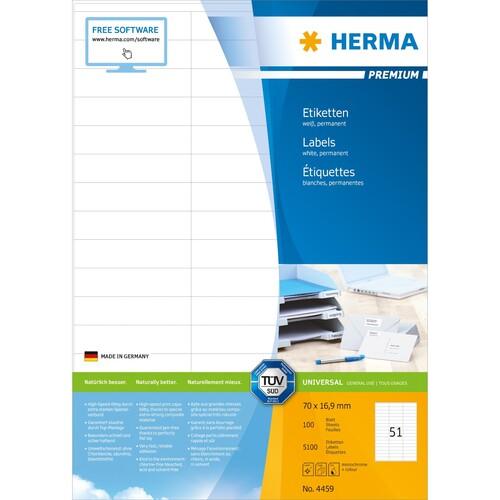 Etiketten PREMIUM Inkjet+Laser+Kopier 70x16,9mm auf A4 Bögen weiß permanent Herma 4459 (PACK=5100 STÜCK) Produktbild Additional View 1 L
