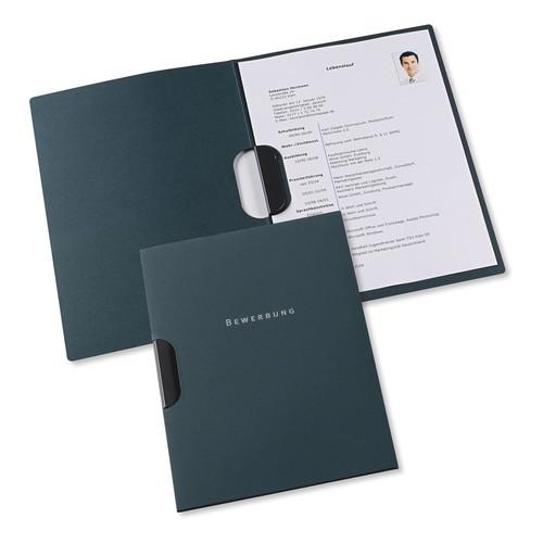 Bewerbungsmappe professional 2-teilig mit clip-fix-system 220x315mm für 30Blatt dunkelblau Karton Elba 100421009 Produktbild