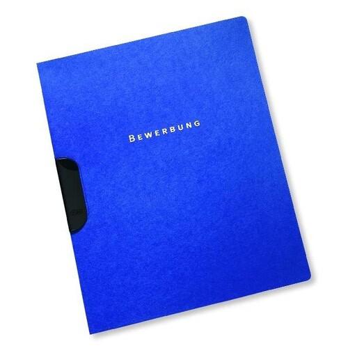 Bewerbungsmappe Oxford clip-fix A4 für 30Blatt dunkelblau Karton 100421009 Produktbild Front View L