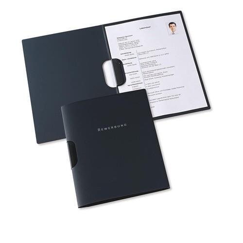 Bewerbungsmappe 2-teilig mit Klemme clip-fix system 220x315mm für 30Blatt anthrazit PP Elba 100421025 Produktbild