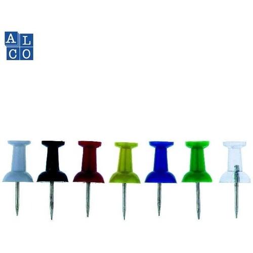 Pinwandnadeln farbig sortiert Kunststoff Griffknopf ALCO 660-26 (DS=20 STÜCK) Produktbild Front View L