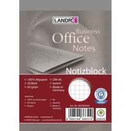 Notizblock A6 kariert mit Deckblatt perforiert 50Blatt 60g Recycling Landré 100050295 Produktbild