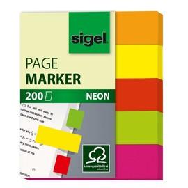 Haftmarker Neon Mini 50x12mm 5 Neonfarben Papier Sigel HN655 (PACK=5x 40 STÜCK) Produktbild