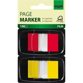 Haftmarker Z-Marker Film Color-Tip 25x43mm rot+gelb transparent Sigel HN496 (PACK=2x 50 STÜCK) Produktbild