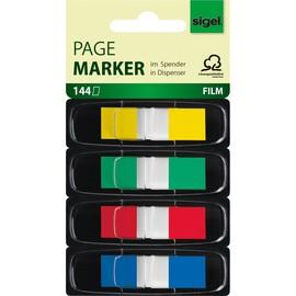 Haftmarker Z-Marker Film Color-Tip 12x43mm 4 Grundfarben transparent Sigel HN495 (PACK=4x 36 STÜCK) Produktbild