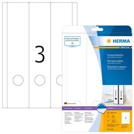 Rückenschilder zum Bedrucken 61x297mm lang breit auf A4 Bögen weiß selbstklebend Herma 5135 (PACK=75 STÜCK) Produktbild