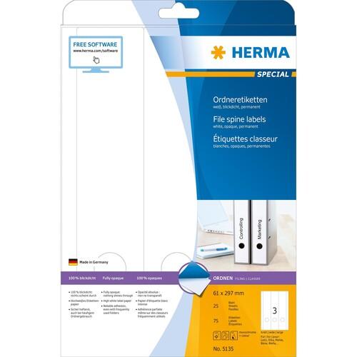 Rückenschilder zum Bedrucken 61x297mm lang breit auf A4 Bögen weiß selbstklebend Herma 5135 (PACK=75 STÜCK) Produktbild Additional View 1 L