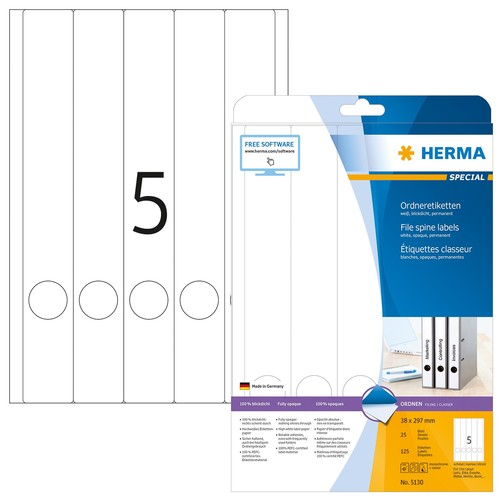 Rückenschilder zum Bedrucken 38x297mm lang schmal auf A4 Bögen weiß selbstklebend Herma 5130 (PACK=125 STÜCK) Produktbild
