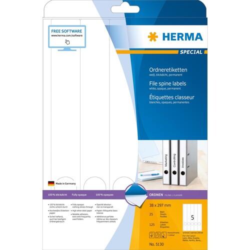 Rückenschilder zum Bedrucken 38x297mm lang schmal auf A4 Bögen weiß selbstklebend Herma 5130 (PACK=125 STÜCK) Produktbild Additional View 1 L