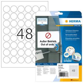 Etiketten Inkjet+Laser+Kopier Ø 30mm auf A4 Bögen Movables weiß wiederablösbar Herma 4387 (PACK=1200 STÜCK) Produktbild