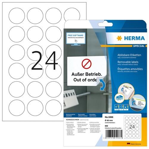 Etiketten Inkjet+Laser+Kopier Ø 40mm auf A4 Bögen Movables weiß wiederablösbar Herma 5066 (PACK=600 STÜCK) Produktbild