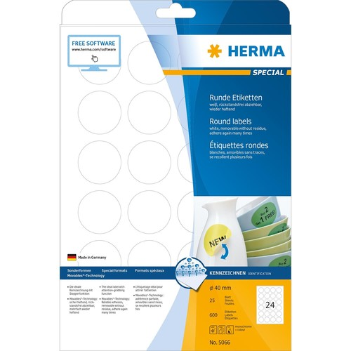 Etiketten Inkjet+Laser+Kopier Ø 40mm auf A4 Bögen Movables weiß wiederablösbar Herma 5066 (PACK=600 STÜCK) Produktbild Additional View 1 L