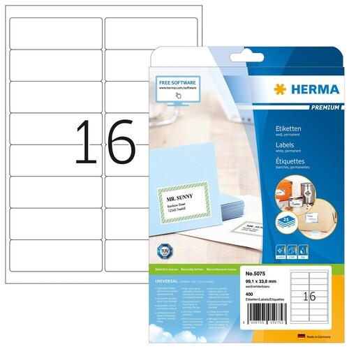 Etiketten PREMIUM Inkjet+Laser+Kopier 99,1x33,8mm auf A4 Bögen weiß permanent Herma 5075 (PACK=400 STÜCK) Produktbild