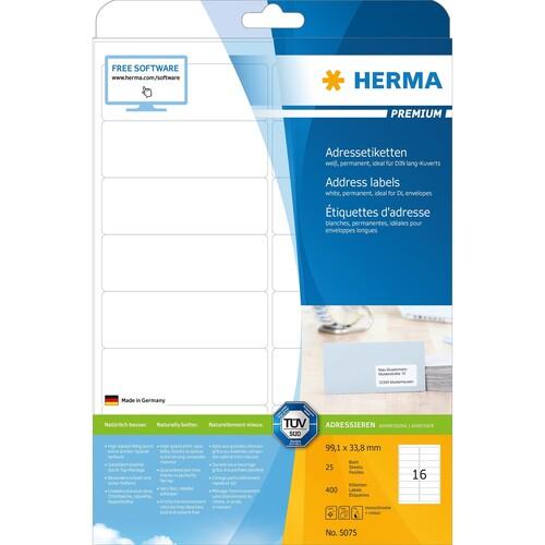 Etiketten PREMIUM Inkjet+Laser+Kopier 99,1x33,8mm auf A4 Bögen weiß permanent Herma 5075 (PACK=400 STÜCK) Produktbild Additional View 1 L