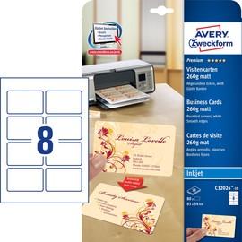 Visitenkarten Inkjet 85x54mm auf A4 Bögen 260g weiß matt beidseitig bedruck- bar glatte Kanten Zweckform C32024-10 (PACK=80 STÜCK) Produktbild