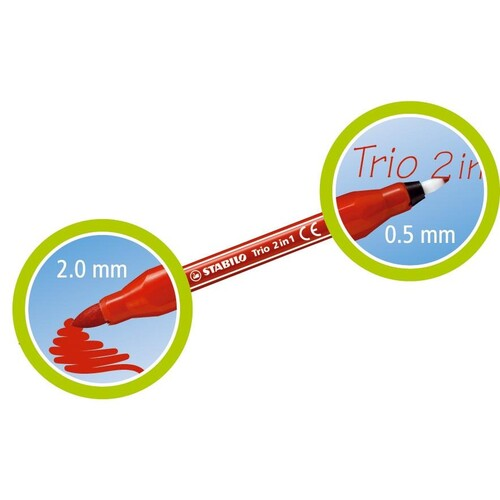 Fasermaler+Fineliner Trio 2in1 0,5+2,0mm dunkelgrün Stabilo 223/36 Produktbild Additional View 6 L