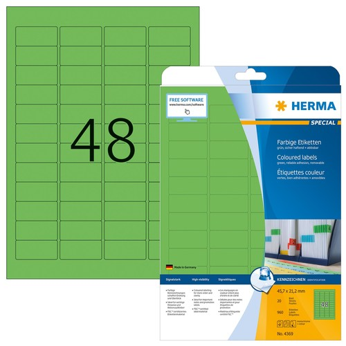 Etiketten Inkjet+Laser+Kopier 45,7x21,2mm auf A4 Bögen grün ablösbar Herma 4369 (PACK=960 STÜCK) Produktbild