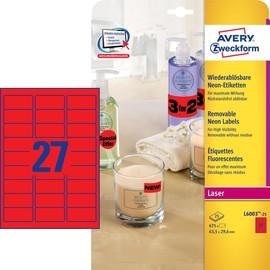 Etiketten Laser+Kopier 63,5x29,6mm auf A4 Bögen neonrot wiederablösbar Zweckform L6003-25 (PACK=675 STÜCK) Produktbild