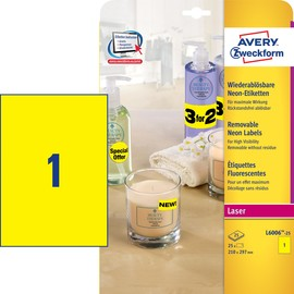 Etiketten Laser+Kopier 210x297mm auf A4 Bögen neongelb Zweckform L6006-25 (PACK=25 STÜCK) Produktbild